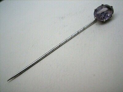 Antique Edwardian Solid Sterling Silver Stick Pin set with an Amethyst