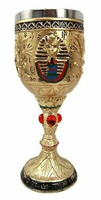 "Ebros Ancient Egyptian Pharaoh King Tut Resin Wine Goblet Chalice Decor 7.25""H"