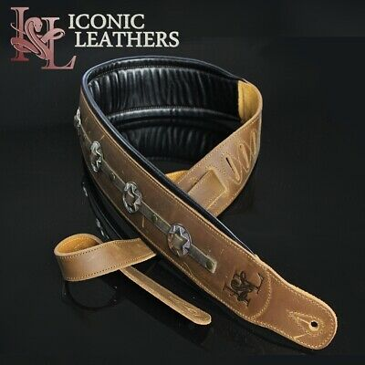 "Iconic CUSTOM SHOP Conchos 3.25"" Leather Padded Brown Guitar or Bass Strap #1"