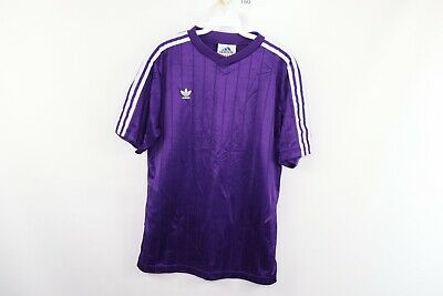 Vintage 90s Adidas Mens Medium Trefoil Spell Out Striped Soccer Jersey Purple