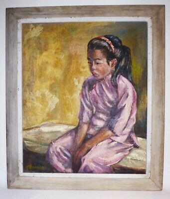 Ying Yue - Circa 1930 Chinese Girl Portrait  Oil Painting- Sigend And Titled