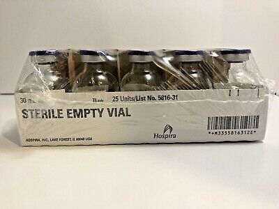 Hospira  30ML Sterile Empty Vials 25 Count.