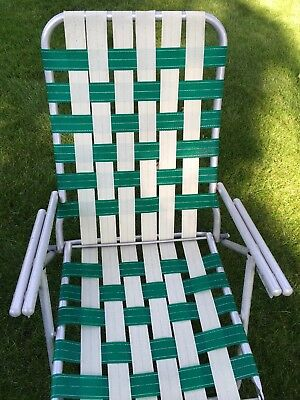 Astonishing Vintage Folding Aluminum Webbed Chaise Lounge Lawn Chair Squirreltailoven Fun Painted Chair Ideas Images Squirreltailovenorg