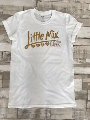 Little Mix T Shirt 2019 Adults Kids White Black Tshirt with Gold Glitter Text