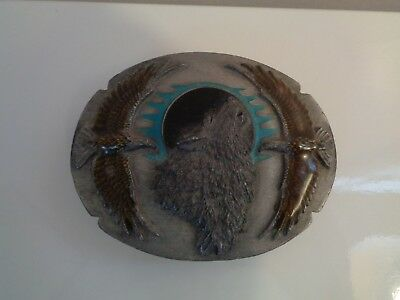 Rarely Used, Vintage Wolf & Eagles 3 Dimensional Pewter Belt Buckle By Siskiyou