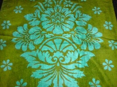 3 Pc Set Vtg St Marys Sculpted Turquoise & Avocado Green Towels Bath Hand Wash