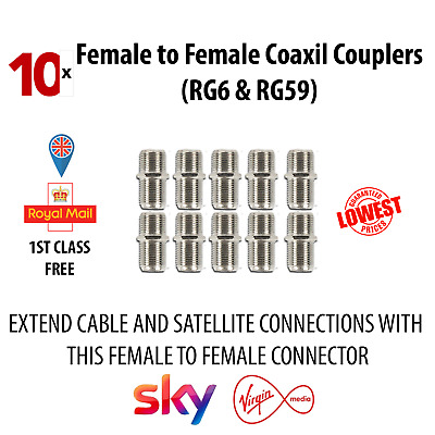 10x F Type Female to Female Connector Screw Coupler Satellite Coaxial Cable Join