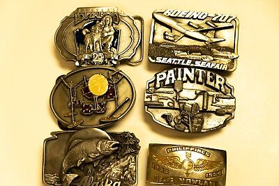 Lot of 6 Belt Buckle 1989 Alaska by Siskiyou and more...