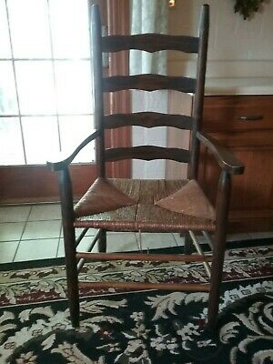 Set (4) Vintage Wood Woven Rush Seat Ladder Back Chairs -local pickup free.