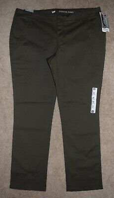 New Lee 18 L Pants Midrise Fit Essential Chino Straight Leg Green Stretch Khakis
