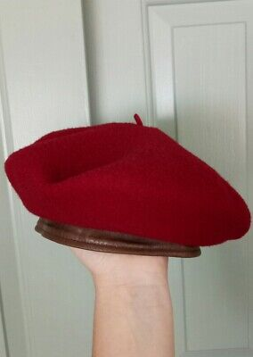 Vintage Chapeaux Motsch Genuine 100% Lambswool French Red Wine Wool Beret Hat