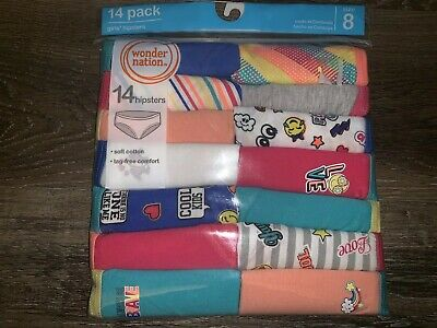 Wonder Nation ~ Girls Tagless 14-Pair Underwear Hipsters Cotton (B) ~ Size 8