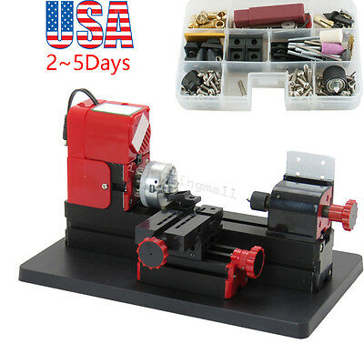 US Sell! 6 in1 Lathe DIY Machine Tool Kit Jigsaw Milling Lathe Drilling Machine