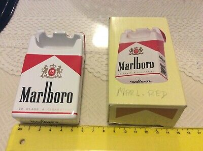 Collectable Marlboro red ceramic ashtray shaped as a cigarette pack