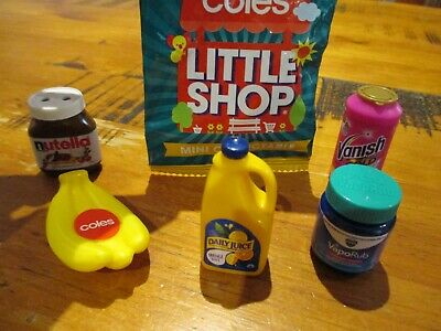 6 x Coles Little Shop Mini Collectables - Inclusive of UNOPENED DETTOL HANDWASH