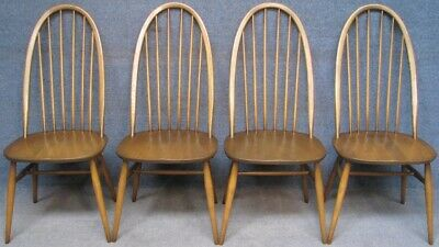 Set Of 4 Ercol Windsor Quaker Solid Ash Kitchen Dining Chairs In Golden Dawn