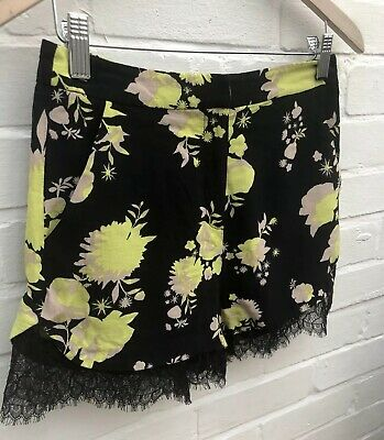 Topshop High Waisted Hotpants Shorts Black Floral Lace Trim Size 8 Festival Hols