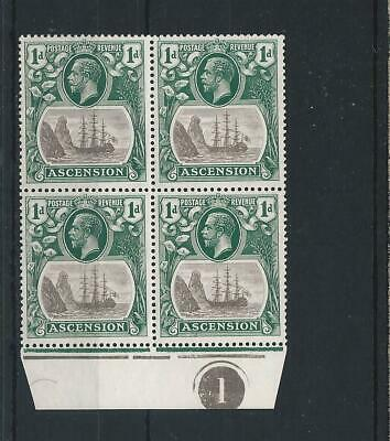 ASCENSION 1924-33 1d GR-BLACK & DP B-GREEN MARG PLATE 1 BLK OF 4 WITH CLEFT ROCK