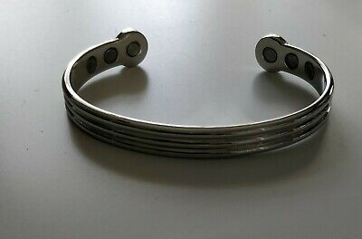 Magnetic Copper bangle with high strength magnets silver colour bracelet  unisex