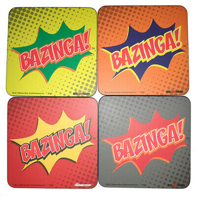 The Big Bang Theory 'Bazinga!' Coaster Set Of 4 - Collectible Coasters - New In