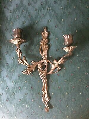 FRENCH ROCOCO STYLE Vintage Brass Wall Candleholder Sconce-Double Arm
