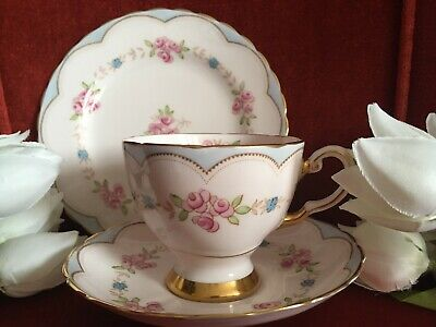 Vintage Tuscan Tea Trio Heavily Guilded And Pretty Fine Bone China England