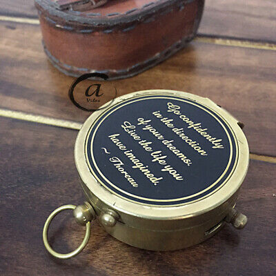 Beautiful Hand-Made Gift For Brother/Sister Marine Compass With Genuine Leather