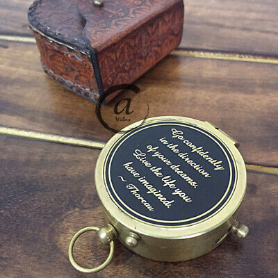 Shiny Brass Finish - Round Pocket Traveling Survival Compass Sporting Goods GPS.
