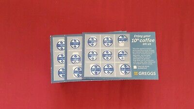 100x Greggs Collector Cards All Stamped With Blue Stamp.coffee Vouchers