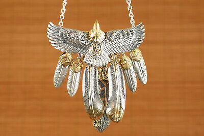 100% 925 silver hand carved eagle statue jewel necklace