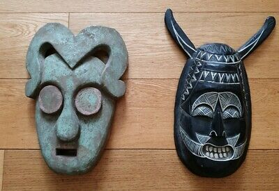 2 x Wooden Green Man Mask Hand Carved horned (T4