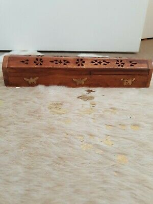 Wooden Incense Box Cone Stick Holder Handmade Burner Storage Dragonfly Coffin