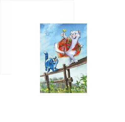 Modern 2019 Postcard Catch up 3 Art Blue Cat Kitty Kitten Puss Russian Zenyuk