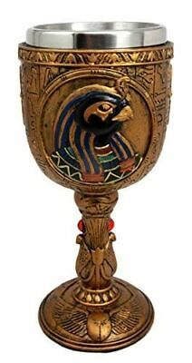 "Ebros Egyptian God Of The Sky And War Horus 6oz Resin Wine Goblet Chalice 6.75""H"