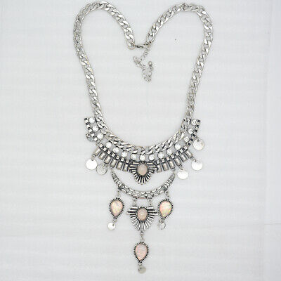 infeein jewelry antique silver plated cut crystals cluster statement necklace
