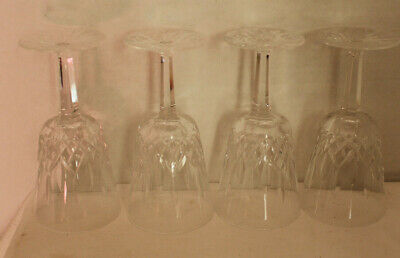 Waterford Crystal Set Of Four Lismore Water Goblets 6-7/8  Inches Tall
