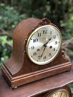 Vintage Working Wind Up Napoleon Mantel Clock Chime Antique Mechanical Wooden