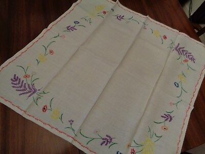"Vintage Hand Made Table Square Center Cloth about 32""X33"" Embroidery"