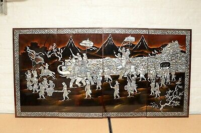Chinese Vietnamese Lacquer Painting Mother Of Pearl Wood Wall Art 4 Panels asian