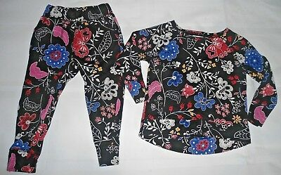 Old Navy Black Floral Sweats Sweat Clothes Outfit Set 2 Toddler Baby Free Ship
