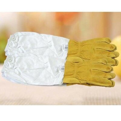 2PCS XXL Gloves Large Soft Beekeeping Gloves Leather Bee Keeping w/ Long Sleeves