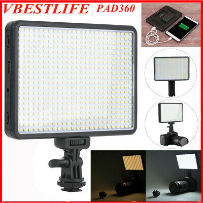 VBESTLIFE PAD360 Video LED Light 3200-5600K Dimmable w/ NP-F550 Battery Charger