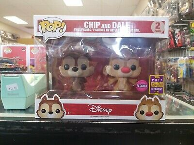 MIB Funko Pop! Disney Flocked Chip And Dale 2 Pack 2017 Summer Convention Ex