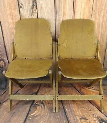 (2) Vintage 1940's US American Seating Co. Grand Rapids MI Wood Folding Chairs