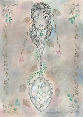 Art Nouveau Painting Of Victorian Sterling Silver Lattice Princess Queen Spoon