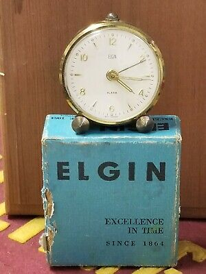 1950s Elgin Wind Up Desk Alarm Clock in Original Box w/ Papers Works Excellent