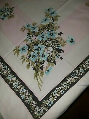"Vintage Tablecloth Hand Print Handprint 63"" X 49""  Floral Flowers"