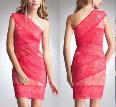 NWT bebe lace coral pink one shoulder floral bodycon top dress XS 0 2 sexy club