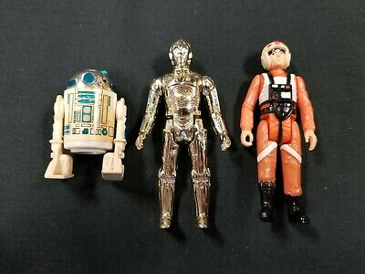 Star Wars Action Figure Lot 1977 R2D2, 1978 X-Wing Pilot, 1982 C3PO Hong Kong