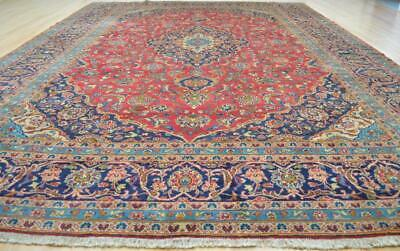 9'6x13 Earth Tone Color Vintage Genuine Persian Hand Knotted Wool Area Rug 10x13